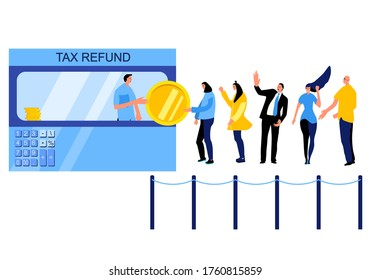 Tax return,vat refund or other money back operations.Tax free desk and people queue. Flat design vector money and funky men,women.Shopping calculator concept for website page. Get payment back in bank