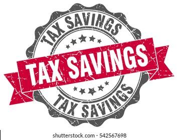 tax savings. stamp. sticker. seal. round grunge vintage ribbon tax savings sign