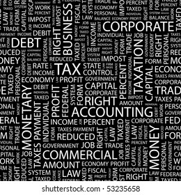 TAX. Seamless vector background. Wordcloud illustration.