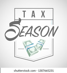 Tax season is here shield illustration design graphic over a white background