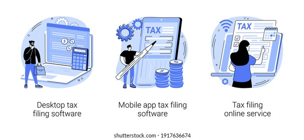 Tax software program abstract concept vector illustration set. Desktop tax filing software, mobile app and online service, income statement, IRS form, gather paperwork abstract metaphor.