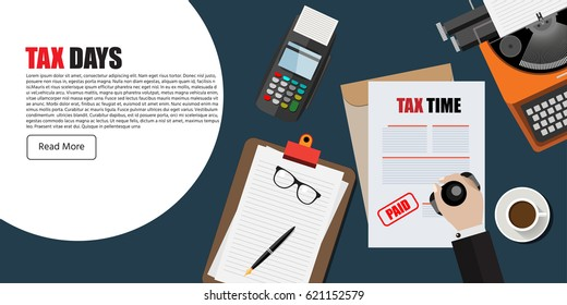 TAX time, Document, Post terminal, Type writer . Coffee. flat designed vector illustration. web element.