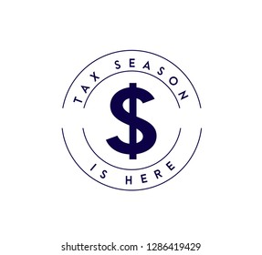Tax time is here circle stamp mark concept icon illustration design over a white background
