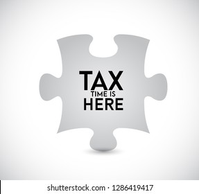 Tax time is here puzzle piece icon illustration design over a white background