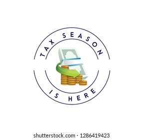 Tax time money bills and coins stamp concept icon illustration design over a white background