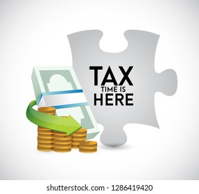 Tax time puzzle money bills and coins concept icon illustration design over a white background