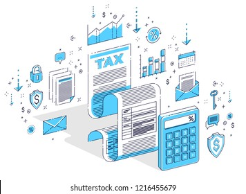 Taxation concept, tax form or paper sheet legal document with calculator isolated on white. Isometric 3d vector finance illustration with icons, stats charts and design elements.