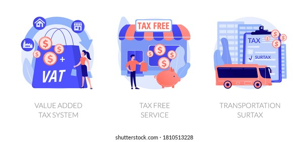 Taxation control abstract concept vector illustration set. Value added tax system, tax free service, transportation surtax, retail good purchase, refunding VAT, transit service fee abstract metaphor.