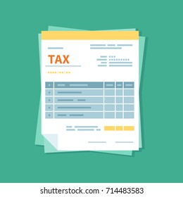Taxation icon isolated. A simplified tax form. Unfilled, minimalistic form of the document. Payment and invoicing, business or financial operations sign. Template design in the flat style. Vector