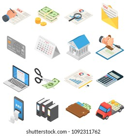Taxes accounting money icons set. Isometric illustration of 16 taxes accounting money vector icons for web