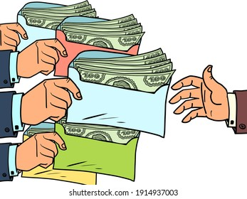 taxes or bribes concept dollars in an envelope. Cartoon comic book pop art illustration drawing