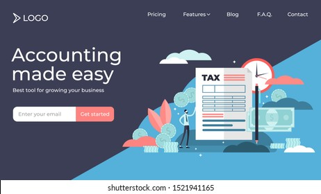 Taxes flat tiny persons vector illustration landing page template design. Finance service to pay for government needs. Deadline information bill and fine charge. National annual calculation check.