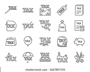 Taxes icon set. Included the icons as fees, personal tax, duties, mandatory financial charge, vat, pay, heavy, tariff and more