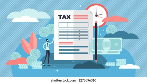 Taxes vector illustration. Flat tiny persons concept with payment time delay. Finance service to pay for government needs. Deadline information bill and fine charge. National annual calculation check.