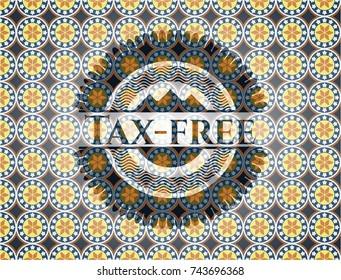 Tax-free arabesque emblem. arabic decoration.