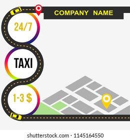 Taxi banner. Taxi, car, map. Vector illustration.