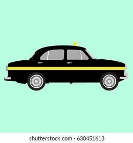 Taxi - Black Ambassador Car Vector