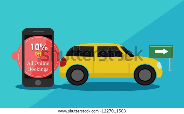 Taxi Booking Banner Promotion Banner Cab Stock Vector (Royalty Free