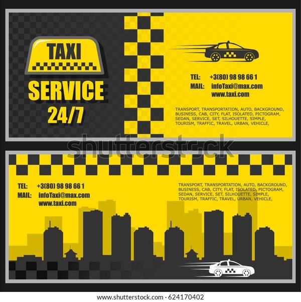 Taxi Visitenkarte Mit Zwei Seiten Mit Stock Vektorgrafik