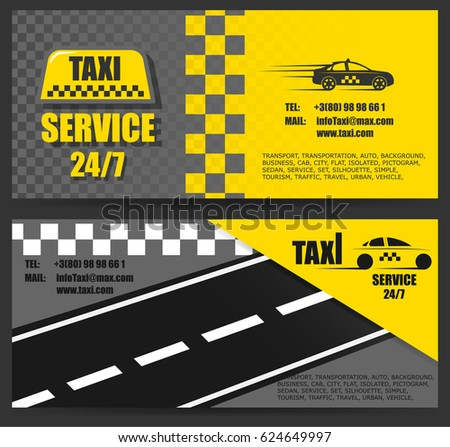 Taxi Business Card Work Taxi Around Stock Vector Royalty Free