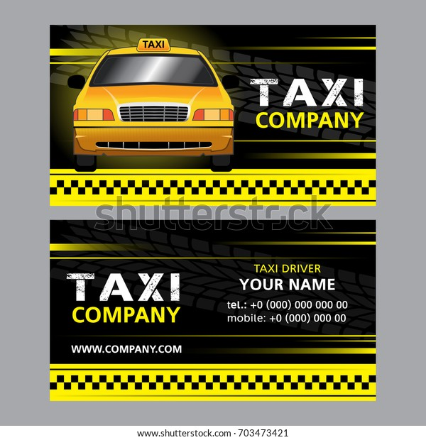 Taxi Business Card Yellow Taxi Cab Stock Vector (Royalty Free) 703473421