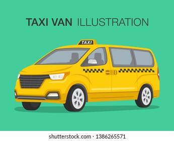 Taxi cab company. Van car driver service. Perspective view. Flat vector illustration.