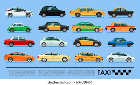 Taxi cab icons set poster or banner,China, UK, USA, Korea, Australia, Brasil, Spain, Russia, Egypt, India, Hong Kong, Mexico, Japan, Germany, Berlin, Tokio, London, Moscow, Cairo, Melbourne, Delhi
