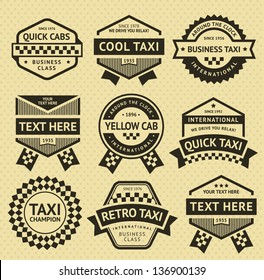 Taxi cab set insignia, old style, vector illustration