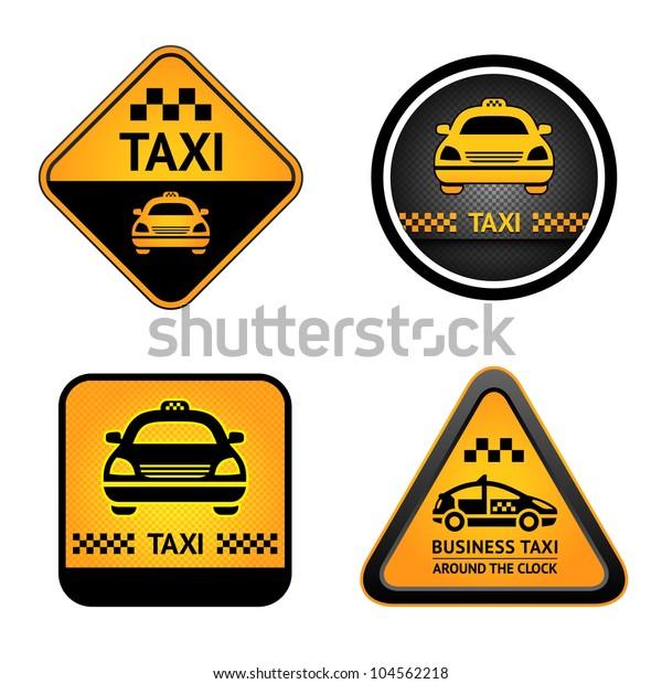 Taxi Cab Set Symbols Street Orange Stock Vector (Royalty
