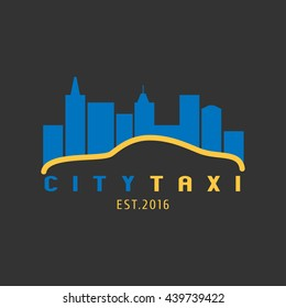 Taxi, cab vector logo, background. Car hire black and yellow background, badge, app emblem. City taxi design element