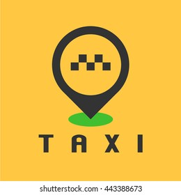 Taxi, cab vector logo, design. Car hire black and yellow background, badge, app emblem. Taxi point graphic icon