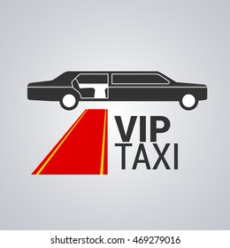 Taxi, cab vector logo, design. Limo, limousine car hire background, badge, app emblem. Design element of red carpet and VIP taxi sign