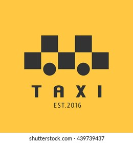 Taxi, cab vector logo, icon. Car hire black and yellow background, badge, taxi app emblem. Taxicab transportation design