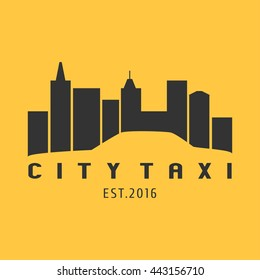Taxi, cab vector logo, icon. Car hire black and yellow background, badge, app emblem. City taxi design element