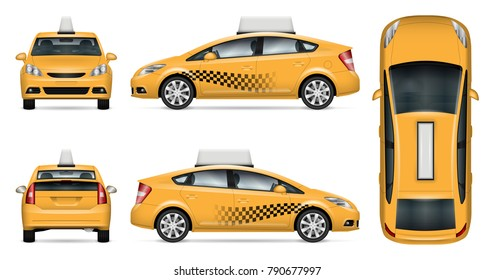 Taxi cab vector mock up for advertising, corporate identity. Isolated template of city car on white background. Vehicle branding mockup. Easy to edit and recolor. View from side, front, back and top.