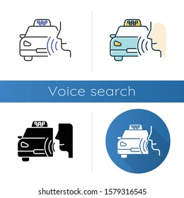 Taxi call icons set. Transport search voice command idea. Sound control, audio order, conversation. Smart virtual assistant. Linear, black and color styles. Isolated vector illustrations