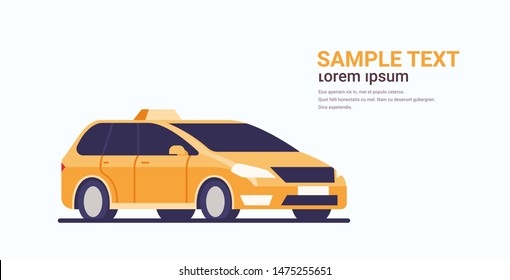 taxi car icon cab automobile passenger transportation service concept flat horizontal copy space