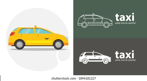 taxi car isolated tool flat icon with taxi solid, line icons
