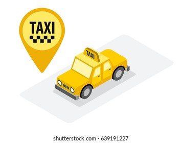 Taxi car isometric view vector illustration. Taxi travel service yellow badge identity.