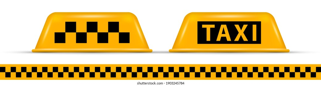 Taxi car roof sign. Realistic vector illustration isolated on white.
