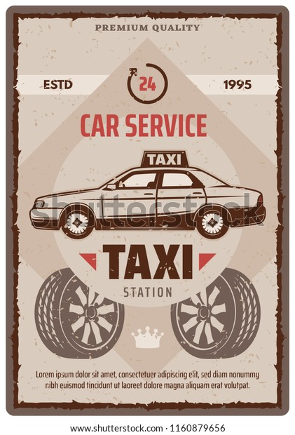 Taxi Car Service Retro Poster Garage Stock Vector Royalty Free 1160879656
