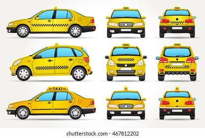 Taxi Car - Side - Front - Back view