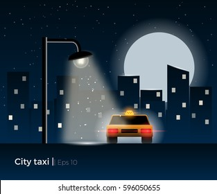 Taxi car standing under the lantern light, surrounded by a night city silhouette and shining moon. Stylish vector illustration with light effects and simple details.