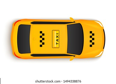 Taxi car top view cab. Vector yellow taxi car illustration vehicle.