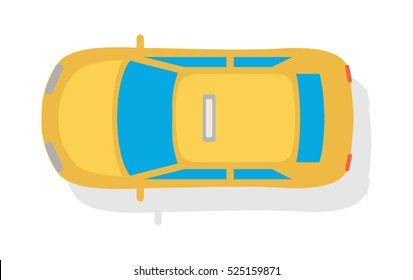 Taxi car top view icon. Yellow taxicab sedan with checker top light box on roof flat style vector illustration isolated on white background. For taxi service app, transport company ad, infographics