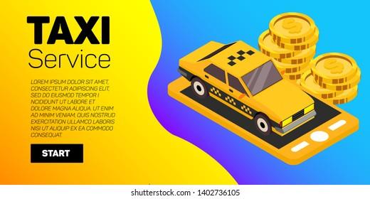 Taxi car vector banner. Taxi service flat mockup.