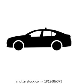 Taxi car vector icon. Taxi vector icon in flat style. City transport icon. Vector illustration.