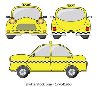 Taxi car vector illustration, front, back and side view.