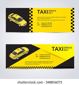 Taxi card  for taxi-drivers. Taxi-service 24/7. Vector business card template. Company, brand, branding, identity, logotype.