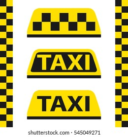 Taxi, checkered taxi, car, passenger, transportation, trip. Flat design, vector illustration, vector.